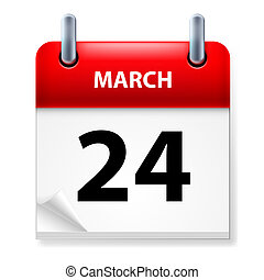 Twenty-fourth March in Calendar icon on white background