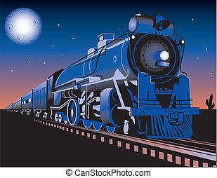 A train running through the desert at night