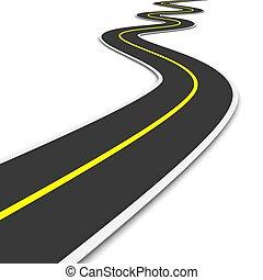 Twisty road. 3d rendered illustration.