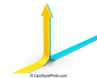 Two 3d arrows are pointing upwards together