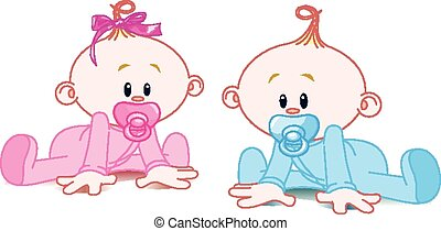 Two adorable babies - the girl with bow and the boy