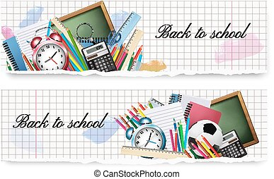 Two Back to School banners with school supplies on a paper background. Vector.