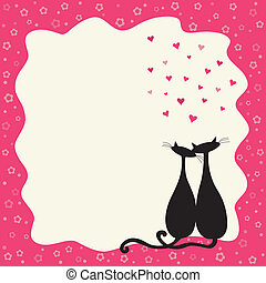 Two cats in love in a retro frame
