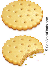 two crispy cookies isolated on white background - eps10 vector illustration