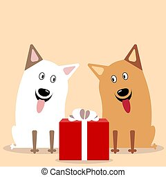 two cute dogs flat vector