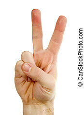 A male hand with two fingers up in the peace or victory symbol. Also the sign for the letter V in sign language. Isolated on white with clipping path.