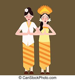 two girls represent Indonesia ethnic group wearing traditional dress clothes smile beautiful