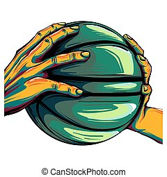 two hands holding a basketball ball illustration