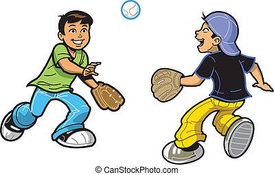 Boys Playing Catch