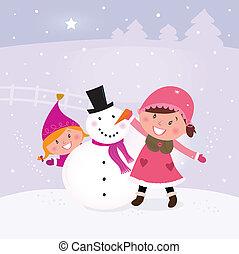 Two happy children making snowman