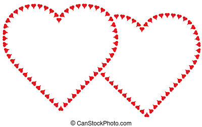Two entwined valentine red hearts each made of tiny hearts. Copy space.