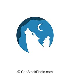 two howling wolf logo design vector sign concept illustration