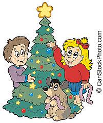 Two kids decorating Christmas tree