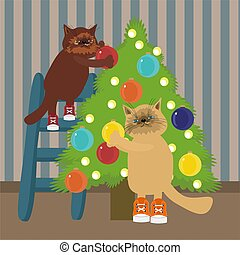 two nicw cats decorating Christmas tree