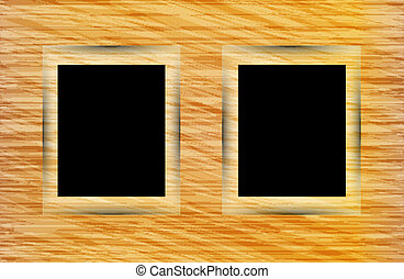 Two photo frames on abstract wooden background