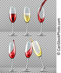 Two wine glasses with red and white wine in celebratory toast