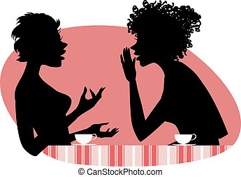 Vector illustration of two girls friends chatting