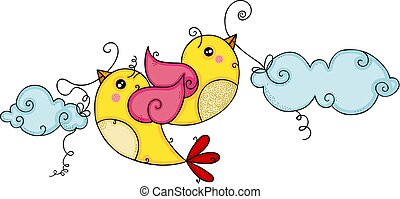 Two yellow birds flying holding blue clouds