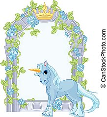 Illustration of standing beautiful cute unicorn close to flower frame