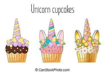 Unicorn cupcakes on white background