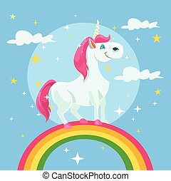 Unicorn vector flat cartoon