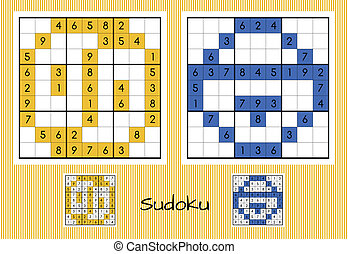 Set of two unique sudoku with answers
