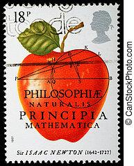 UNITED KINGDOM - CIRCA 1987 : A British Used Postage Stamp celebrating Sir Isaac Newton The Principia Mathematica, circa 1987