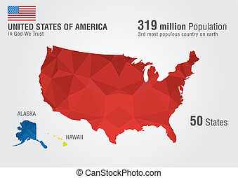 United State of America. USA Map on earth with a pixel daimond texture.