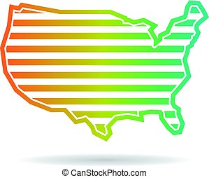 United States Map Horizontal Stripes Logo Design