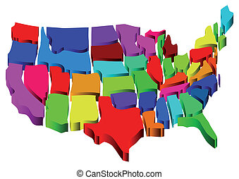 united states map in 3D isolated on white