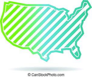 United States Map Oblique Stripes Logo Design