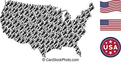 United States Map Stylization of Human Footprint