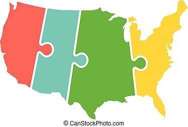 United States Map Time Zones Puzzle