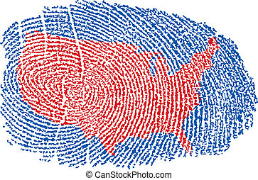 United States Map within a Fingerprint