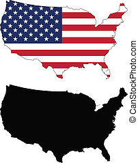 vector map and flag of United States with white background.