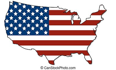 United states vector map with the flag
