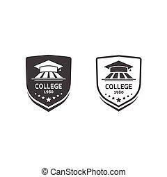 University crests and college school emblems set vector logos