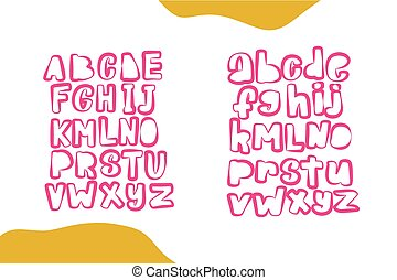 Uppercase cute alphabet font. Vector Hand drawn typography