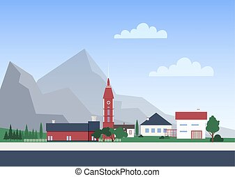 Urban landscape with town or village with private houses or residential buildings, chapel tower and trees. Cityscape with mountain settlement. Colorful vector illustration in flat cartoon style.