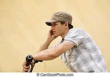 urban rider on the phone