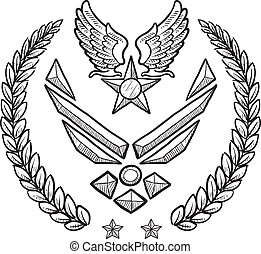 Doodle style military rank insignia for US Air Force, modern with abstract eagle wings and star
