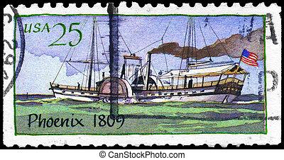 "USA - CIRCA 1989: A Stamp printed in USA shows the Ship ""Phoenix"" (1809), Steamboats series, circa 1989"