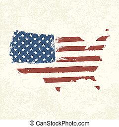 USA flag. Shape of american map. Vector, EPS10