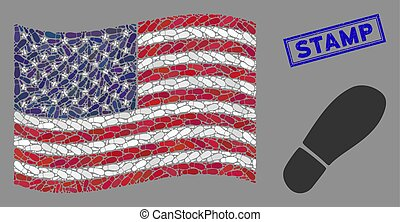 USA Flag Stylized Composition of Boot Footprint and Scratched Stamp Seal