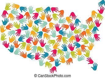 USA map hands