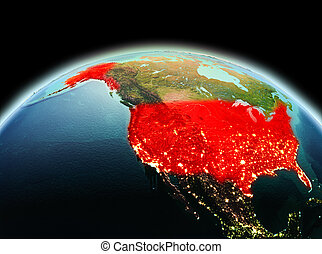 USA on planet Earth in space