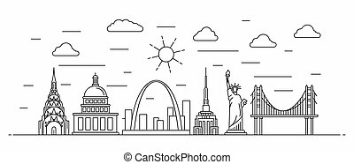 USA panorama. America vector illustration in outline style with buildings and city architecture. Welcome to USA.
