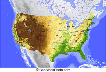 USA, physical vector map