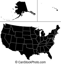 Detailed vector shape of the Unites States of America including Alaska and Hawaii. This illustration is based on the maps of www. cia. gov. The states borders are on the separate layer and can be easily removed.