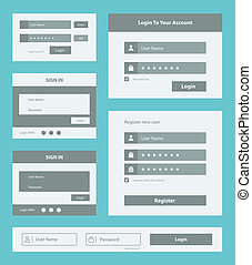 Vector set of user interface login and account registration form design. Isolated on blue background.